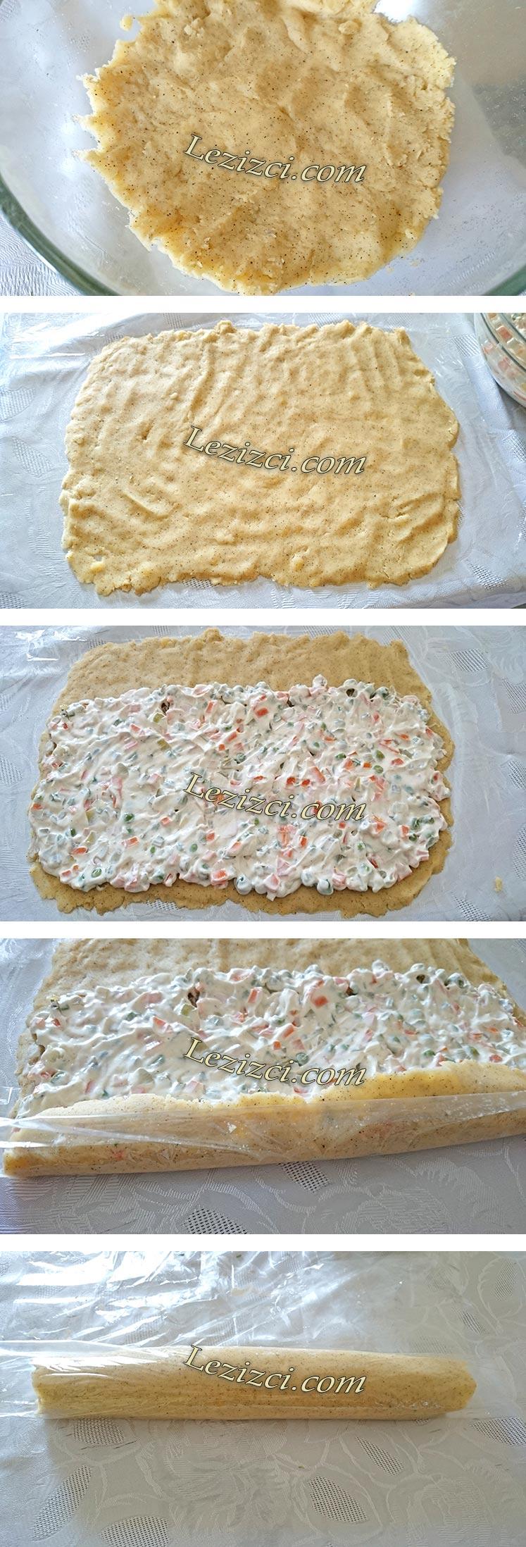 Garnitürlü Yoğurtlu Rulo Patates Salatası