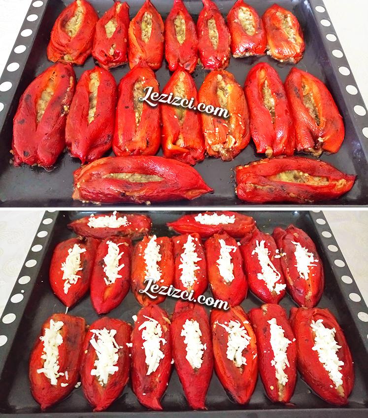 Közlenmiş Kırmızı Biber Yatağında Köz Patlıcan Nasıl Yapılır