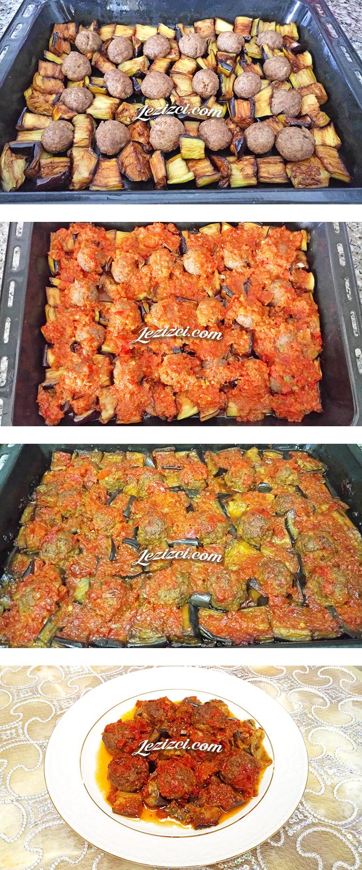 Fırında Domates Soslu Misket Köfteli Patlıcan Nasılı Yapılır