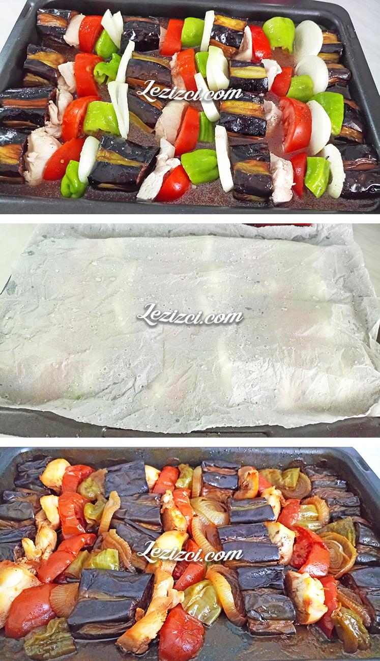 Fırında Tavuklu Patlıcan Kebabı Nasıl Pişirilir?