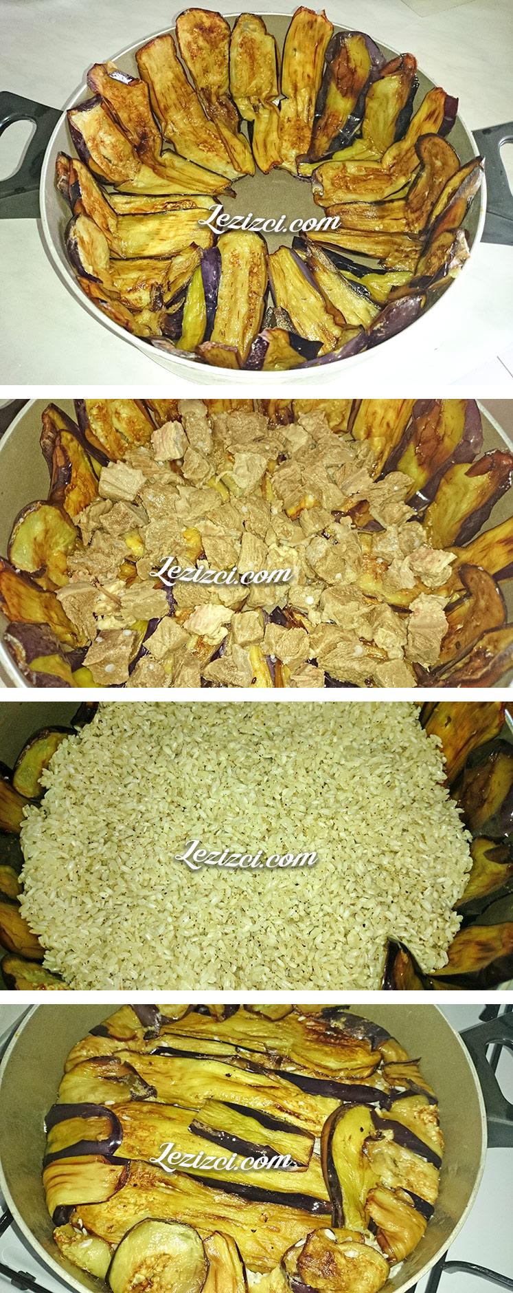 Patlıcan Kafesinde Etli Pilav Nasıl Yapılır