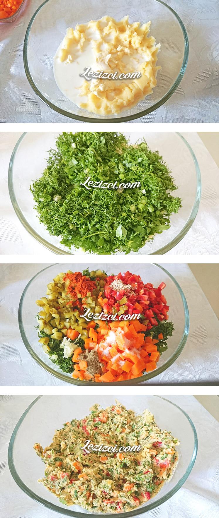 Garnitürlü kek kalıbında patates salatası