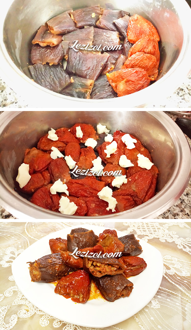 EtliKuru Patlıcan Ve Biber Dolması Yapımı