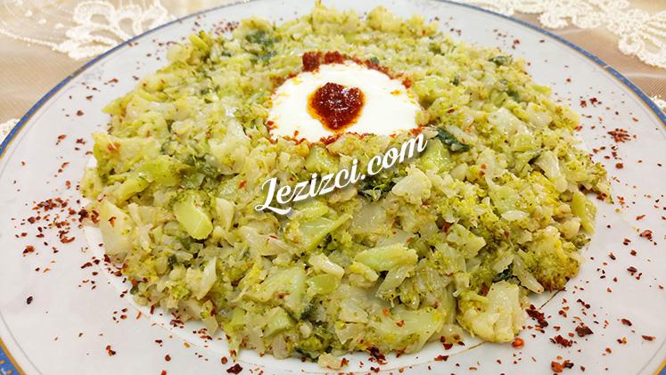 Yoğurt Soslu Karnabaharlı Brokoli Kavurması Tarifi